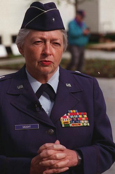 Brigadier General Wilma Vaught is a retired American military leader, joining the military in the 1950s. She became the first woman to deploy with an Air Force bomber unit and the first woman to earn the rank of Brigadier General from the comptroller field, based upon her work in the Air Force Systems Command headquarters as Director of Programs and Budget, in the Office of the Deputy Chief of Staff, Comptroller, and then as the command's Deputy Chief of Staff, Comptroller. She continued to set the bar for