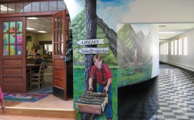 The Hindman Settlement School, in Hindman, KY was awarded an education grant to support their Folk Arts Education Program and the Visiting Artists Series. Jesse Ray Sims, artist-illustrator, teaches students and teachers the vital connections between science, math, and art, which help to unlock the students creativity. He worked closely with 10 students to paint this mural with scenes from traditional Appalachian Jack Tales.