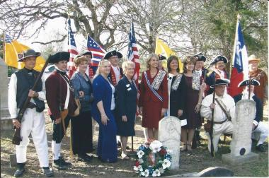 Feb. 1, 2009, San Jacinto Chapter, NSDAR held a grave-marking ceremony honoring Rev. War ancestor/patriot Henry Bailey Greenwood (1756-1835), buried Stoneham Cemetery, Grimes Co., TX. Then, Texas State Regent, Lynn Forney Young was in attendance as well as our current Texas State Regent, Pamela Rouse Wright and local dignitaries. The local SAR chapter participated as well as the Robert Raines Chapter, NSDAR.