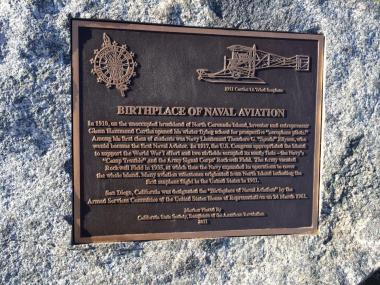 California Daughters recognized 100 years of aviation and recognized San Diego as the birthplace of naval aviation by placing this marker in Centennial Park in Coronado in 2011. Like all markers, it says that this place matters and will educate generations to come!