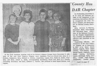 The Port Tobacco Chapter in La Plata, MD is celebrating our 50th anniversary this year. Here is the newspaper article from when we were first established.