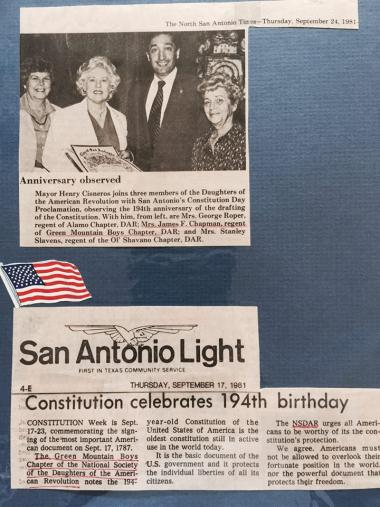 Through the years, the DAR Chapters in San Antonio TX have worked together to celebrate historical events. Here are articles from September 1981 with the celebration of the 194th Anniversary of the drafting of the Constitution.