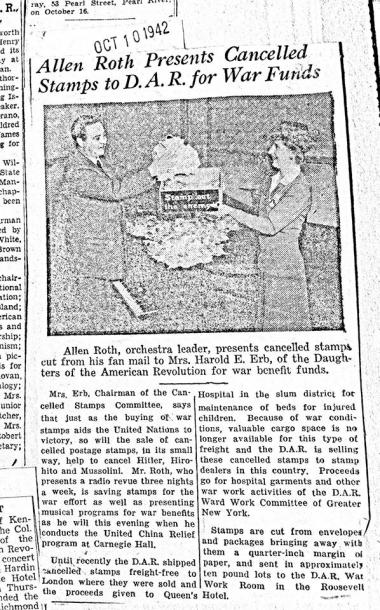 DAR has always been committed to supporting American men and women in uniform. This press clipping from 1942 describes our work to collect cancelled stamps on behalf of the war effort. Mrs. Erb would go on to be Mrs. Sullivan -- and President General during the Vietnam War.