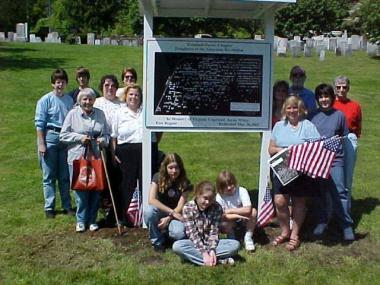 The Trumbull-Porter erected this new information kiosk in the Old Burying Ground in Watertown, CT in 2005. It holds a large plot map that gives the numbers of all of the gravestones and there are printed indexes of corresponding names on the side so that specific gravestones can be more easily found. The klosk was given in memory of member Virginia Copeland White who was very instrumental in preserving this cemetery, the first one in Watertown.