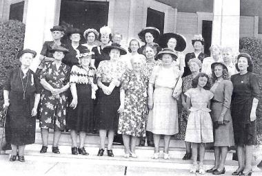 1947--Weatherford Chapter, Weatherford, TX, luncheon meeting. On bottom, far right of photo is young home ec teacher Helen Wright Guess, whom we are honoring April 2015 for her devotion as a 70-year member of Weatherford Chapter-NSDAR