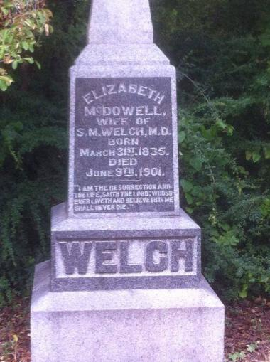 I recently discovered this grave in a lovely cemetery around the corner from my house in Dallas, TX. Mrs. Welch was the founder of the Samuel McDowell Society, Children of the American Revolution, that was formed at a Jane Douglas Chapter meeting in January 1896 (the first C.A.R. Society in Texas). On another side of this stone, sadly, is a memorial to Mrs. Welch's only child who died at the age of three. Obviously, she was devoted to children and she was passionate when asking the chapter to sponsor the C